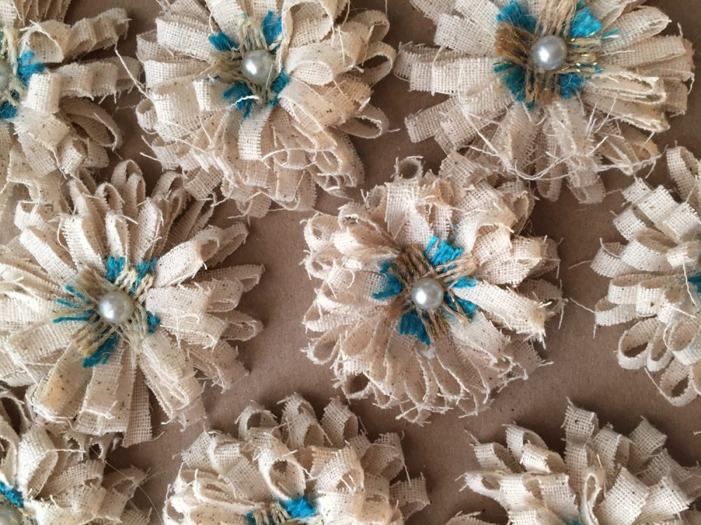 Shabby Turquoise & Pearl Flower Set Of 10 - Cottage Chic Flowers, Chic, Rustic Wedding, Mason Jar, Floral Supplies