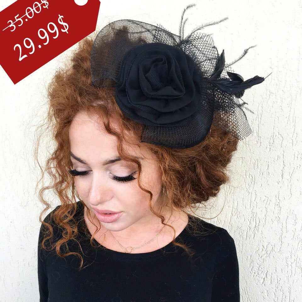 Black Fascinator, Wedding Fascinator Hat, Tea Party Kentucky Derby British Hat Bachelorette, Bridal