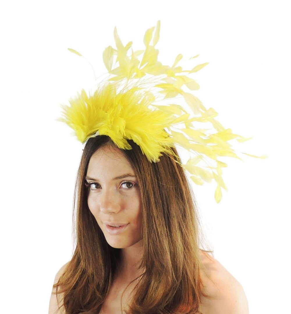 Yellow Desdemona Crown Headband Kentucky Derby Wedding Fascinator Hat Many Colours
