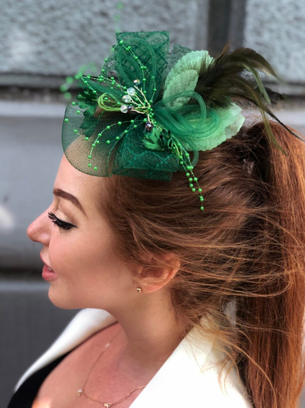 Emerald Green Fascinator, Wedding Fascinator Hat, Mini Top Tea Party Kentucky Derby British Hat Headband