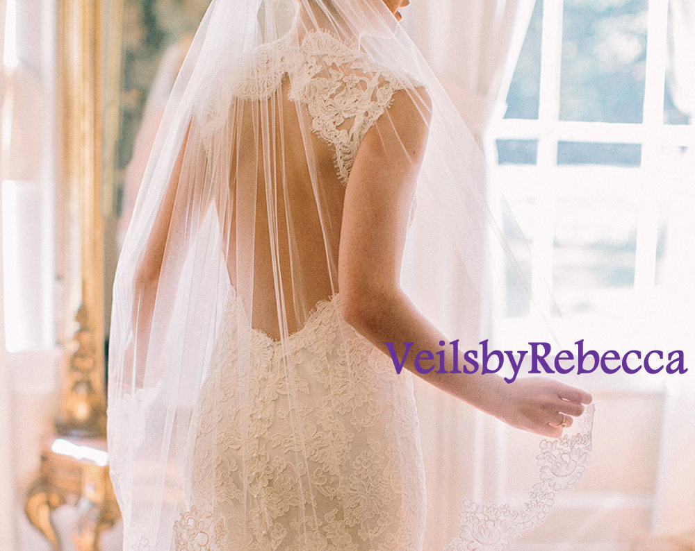 Fingertip Veil With Lace Only At Bottom, Fingertip Wedding Veil, Partial Fingertip, Fingertip Veil-1 Tier Short V617F