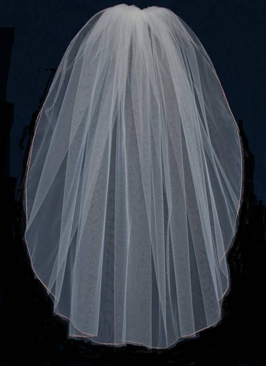 Rose Gold Edge One Layer Elbow Veil, Fingertip Veil Or Chapel Veil- Many Colors - Free Sample Swatches