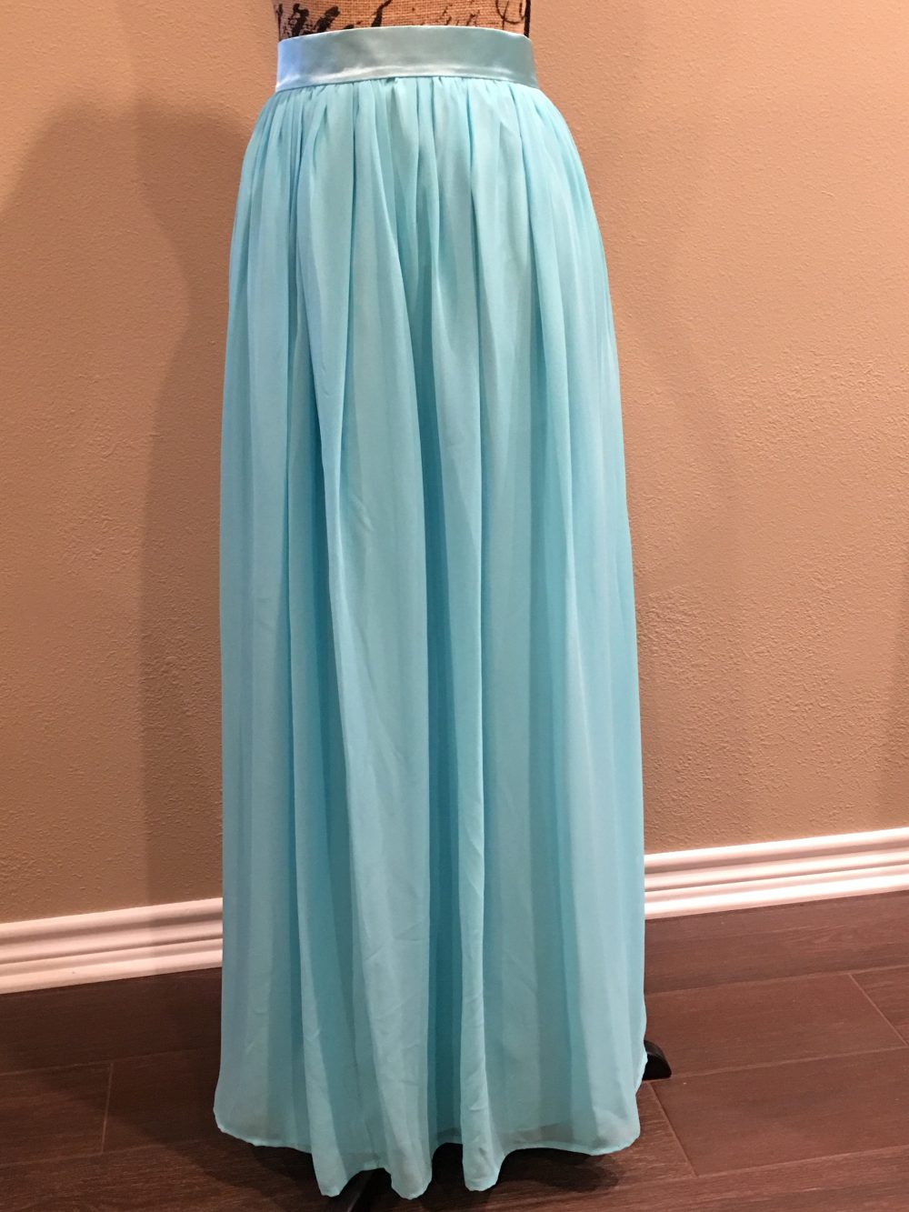 Aqua Green Skirt Chiffon Maxi Beach Wedding Bridesmaid Dresses Womens Custom Long Prom Dress
