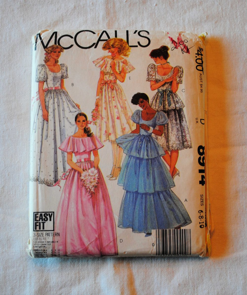 Size 6 8 10, Uncut, Vintage 1980S, Mccalls 8914 Sewing Pattern, Misses Wedding, Bridesmaid Dress, Evening Gown, Cocktail Dress