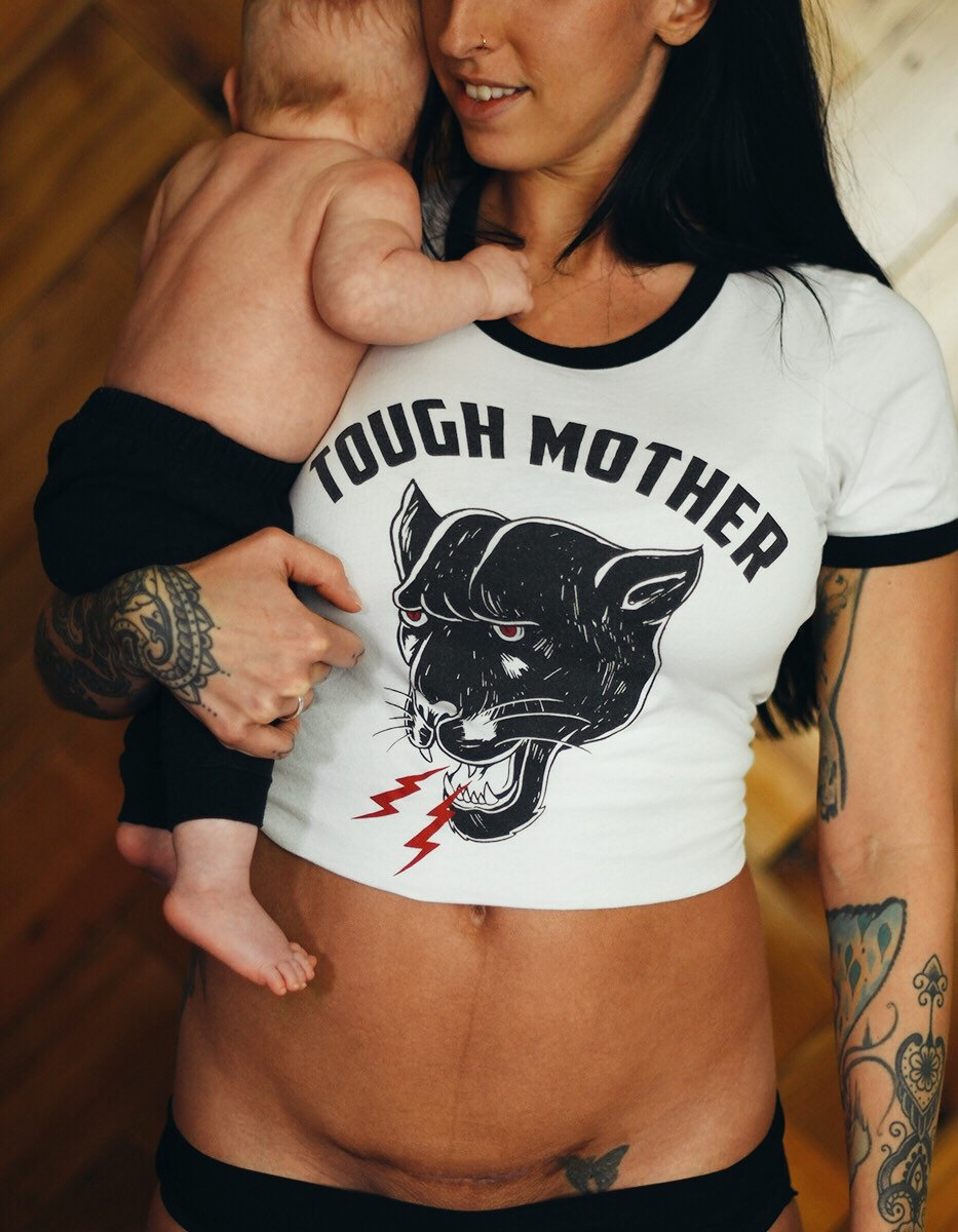 Tough Mother Ringer Tee, Panther Tshirt, Womens Mama Tshirt For Mothers, Mom Retro Vintage