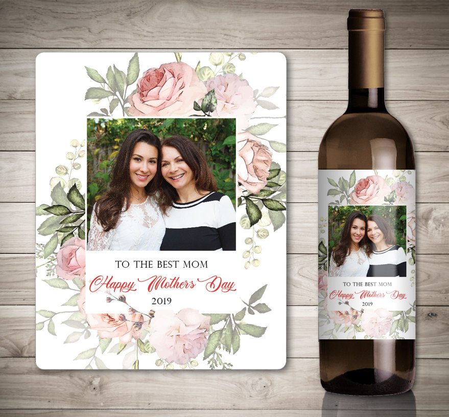 Photo Mother's Day Wine Label - Mothers Day Gift Ideas Mothers From Daughter-Mothers Son For Grandma