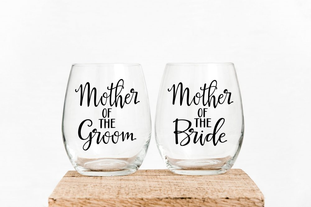 Set Of Mother The Bride & Groom Stemless Wine Glasses. Parent Wedding Gifts - Mother's Day