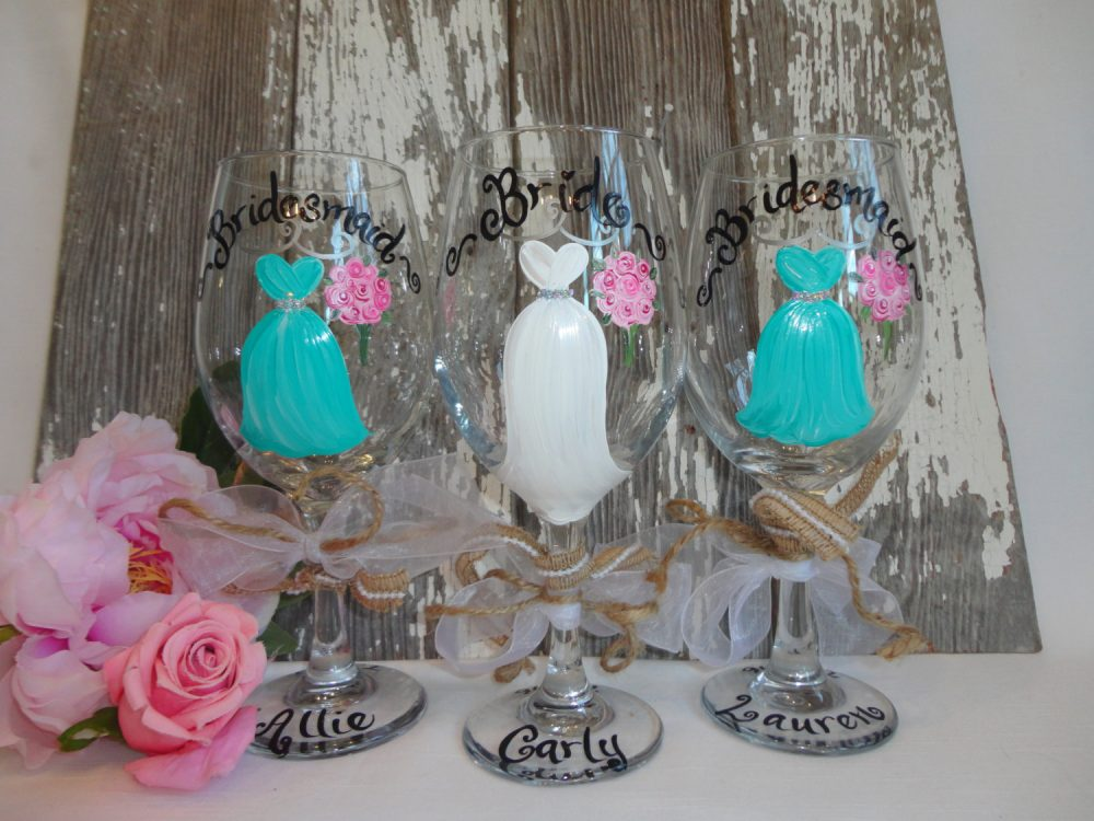 """Hand Painted Bridesmaid Mason Jars, Gifts, Rustic Bridal Party Wine Glasses """"Pick Your Colors"""