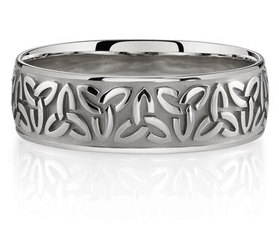Celtic Triquetra Wedding Band in 14K White Gold