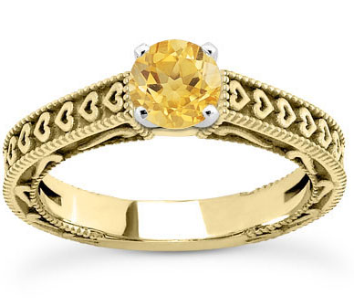 Engraved Heart Band Yellow Citrine Engagement Ring, 14K Yellow Gold