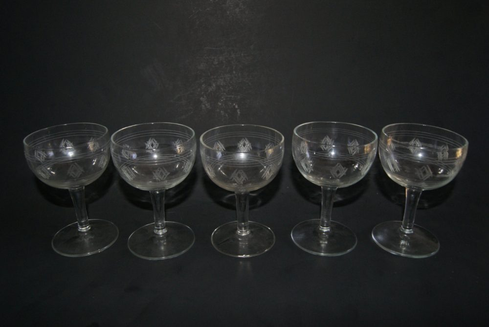 Lot Of 5 Vintage Crystal Etched Banded Diamond Pattern Wine Cordials Stemware