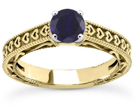 Engraved Heart Band Blue Sapphire Engagement Ring, 14K Yellow Gold