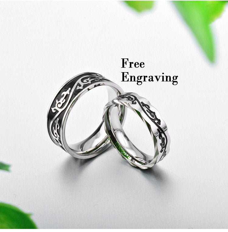 Black & Silver Dragon Wedding Ring Sets His Her, Wedding Band Set Hers
