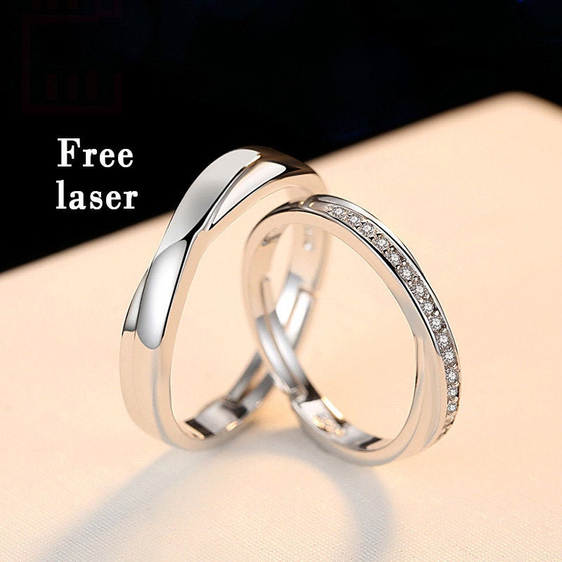 925 Sterling Silver Ajustable Wedding Bands His & Hers, Promise Rings For Couples, Wedding Band Set