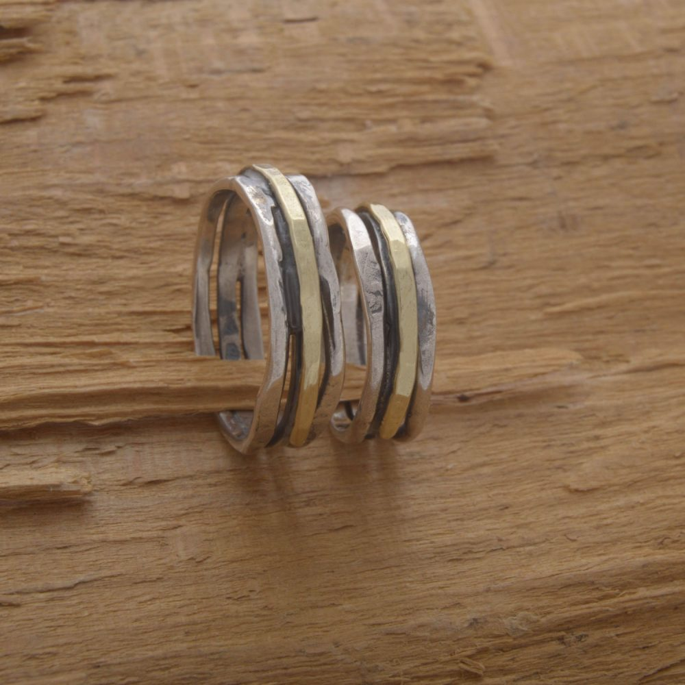 Couples Wedding Band Set, 5mm Width Rustic Silver & Gold Bands, His Her Promise Ring Custom Matching Be67