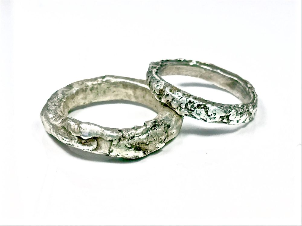 Wedding Rings His & Hers Set Handmade Silver, Gold, Rose Gold Unique Primitive Wedding Narrow Organic Modern Bridal Jewelry Molten Bands