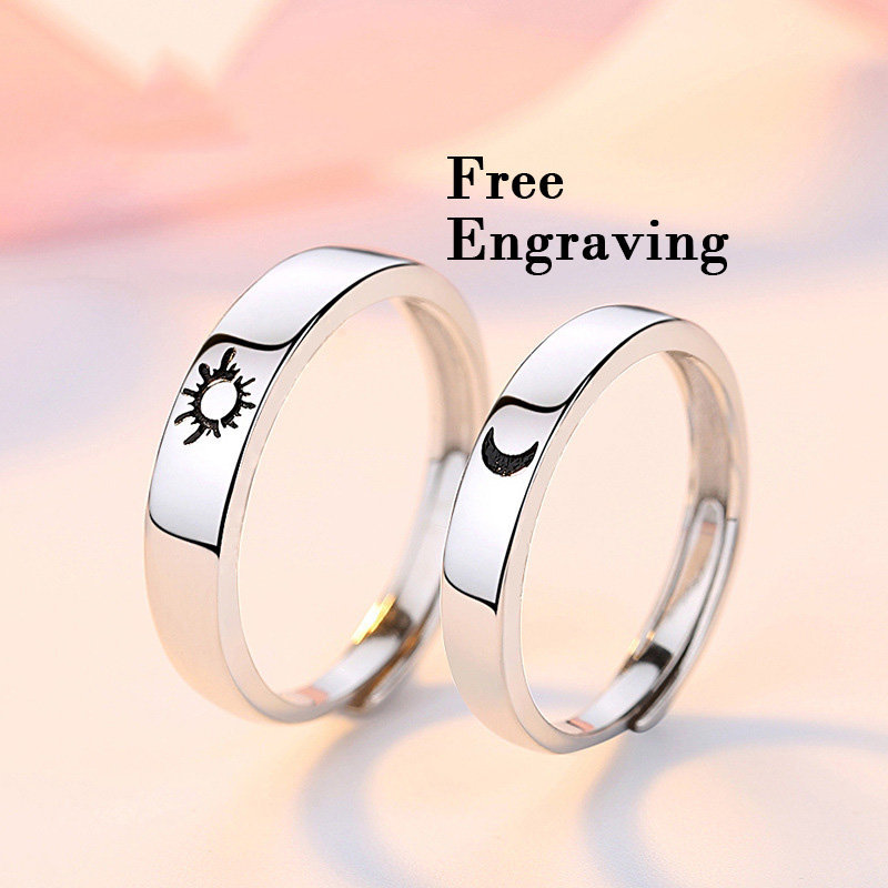 sterling Silver White Gold Plated Adjustable Sun & Moon Rings, Wedding Band Set His & Hers