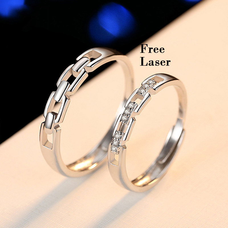 925 Sterling Silver Adjustable Love Knot Matching Couple Rings, Wedding Band Set His & Hers