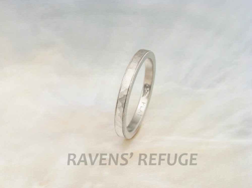 Hammered Milgrain Wedding Band, Platinum Ring Hand Forged