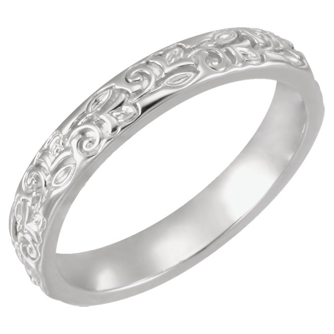 Platinum Carved Flower Wedding Band Ring for Women