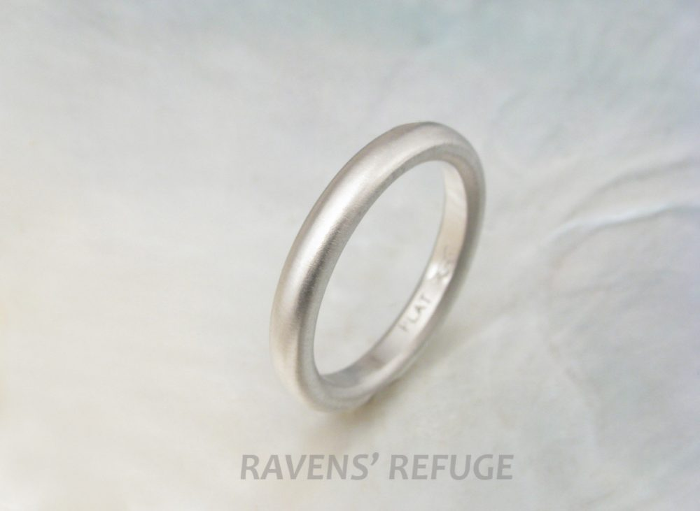 Traditional Platinum Wedding Band 3mm Domed Ring With Matte Finish