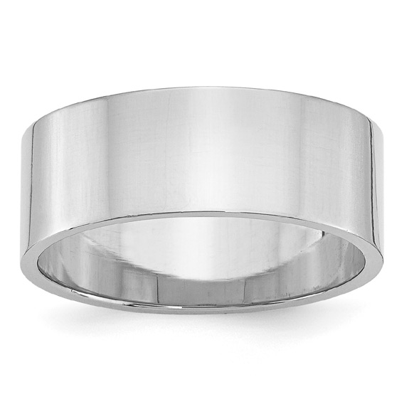 8mm Flat Platinum Wedding Band Ring, Made in the USA