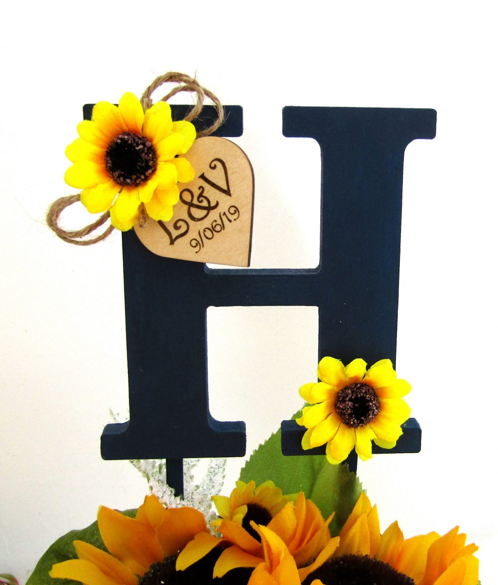 Monogram Wedding Cake Topper, Navy With Sunflowers, Personalized Wood Heart, Bridal Shower Gift