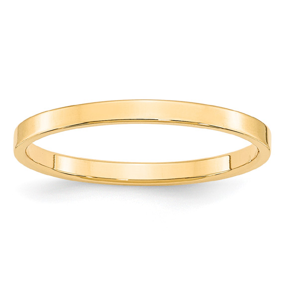 2mm Flat Wedding Band Ring in 14K Gold