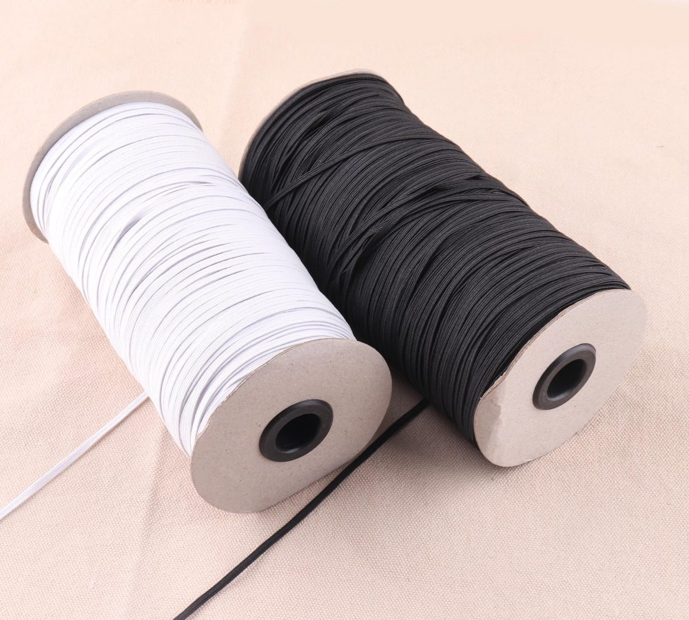 Thin Sewing 3mm Elastic Band White/Black Color High Flat Rubber Band, Waist Thin Belt Garment Accessory