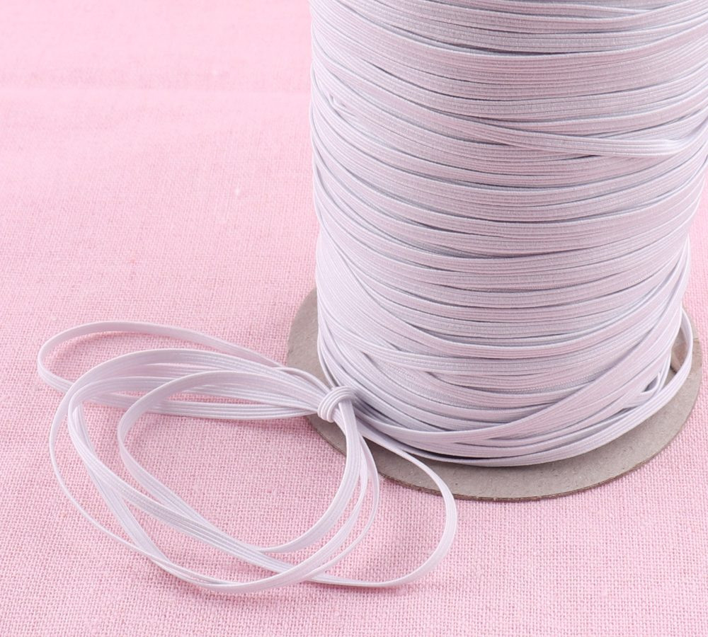 3mm Elastic Bands, Elastic Cord For Sewing, Handmade Elastic Cord, White Rope, Elastic For Masks, Sewing, By The Meter