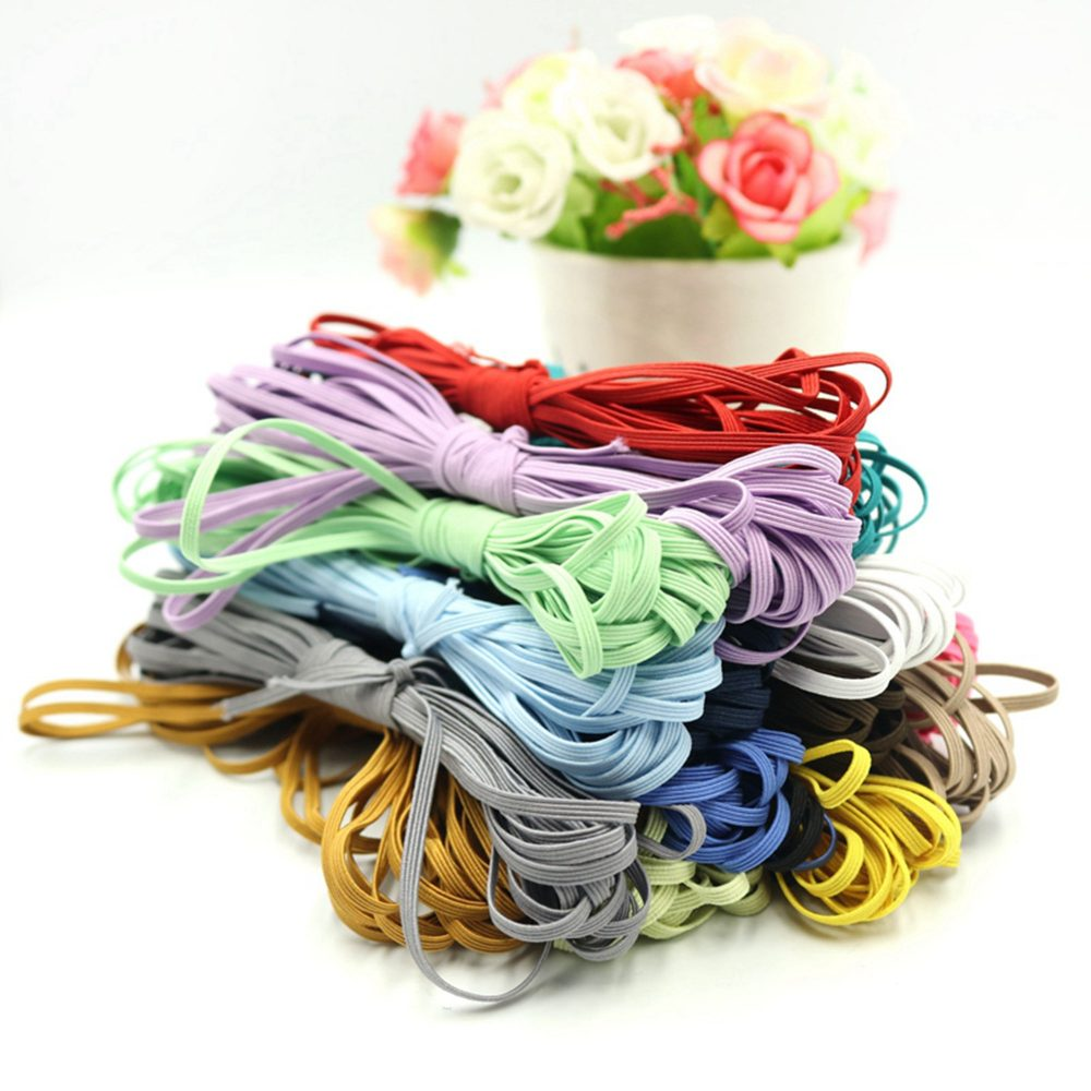 3mm Elastic Band, Flat Tape, Stretch Band Sewing Elastic, Colorful For Clothing Face Masks
