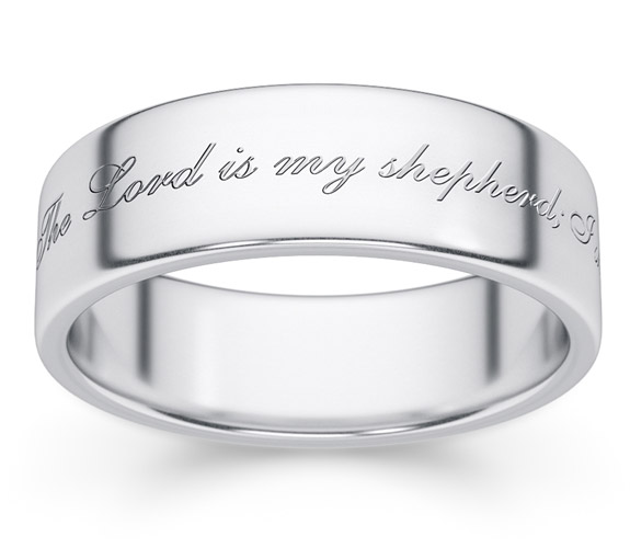 The Lord is My Shepherd Bible Verse Ring, 14K White Gold