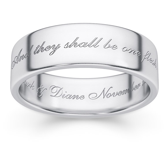 """One Flesh"" Genesis 2:24 Sterling Silver Bible Verse Ring"