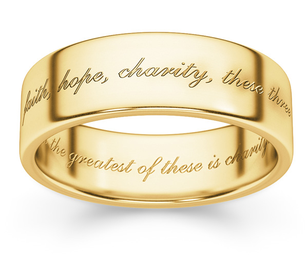 Faith, Hope, Charity Bible Verse Ring in 14K Gold
