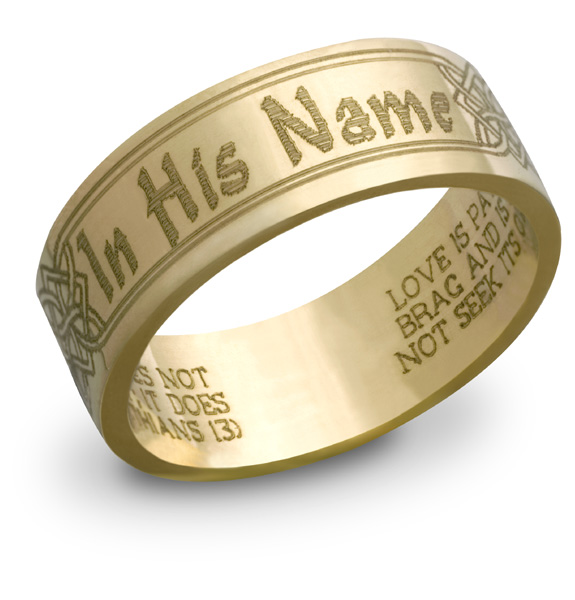 "14K Gold ""In His Name"" Bible Verse Ring"