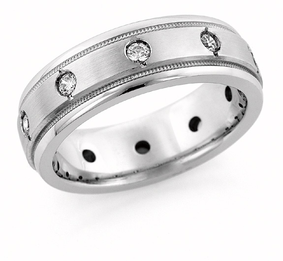 10-Stone Diamond Wedding Band Ring for Men
