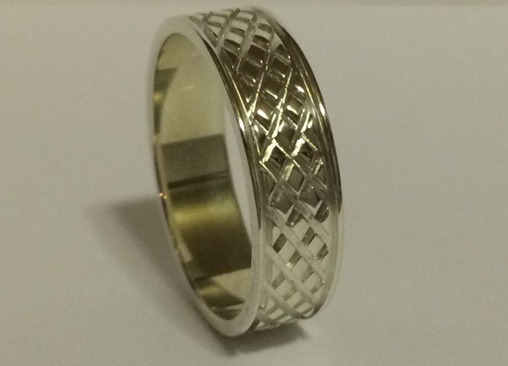 14Kt Gold 6Mm Mens Wedding Band, Ring Unique Design Grooves, Diamond Design, 6 Mm Mans White & Yellow