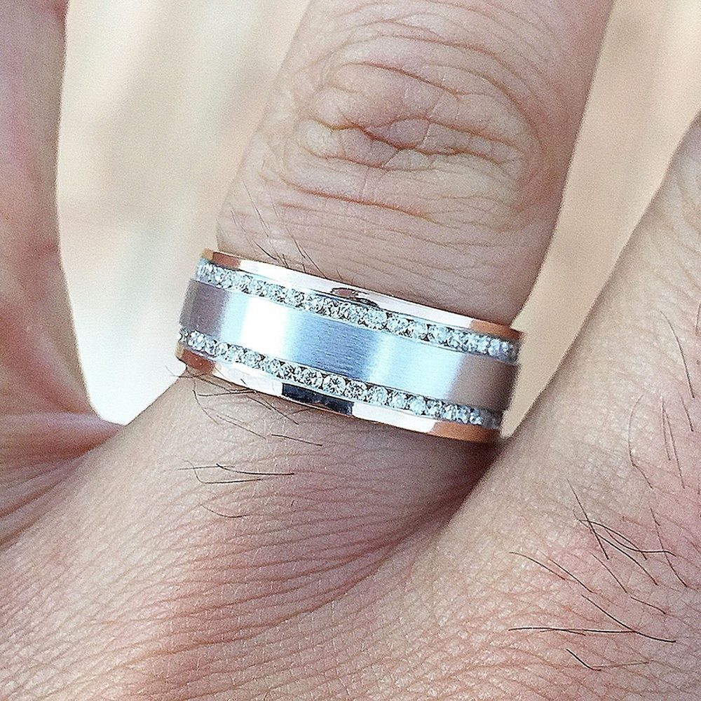 14K White Gold Round Cut Diamond Mens Band 7.50mm Width Brushed Polished Wedding Channel Set Eternity Style 1.00Ctw