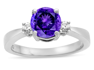 Tommaso Design™ Genuine Amethyst Engagement Ring