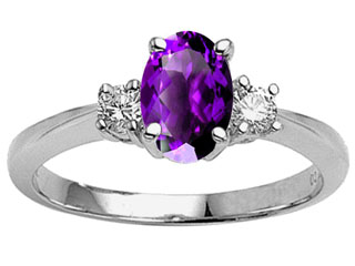 Tommaso Design™ 9x7 Oval Genuine Amethyst Engagement Ring