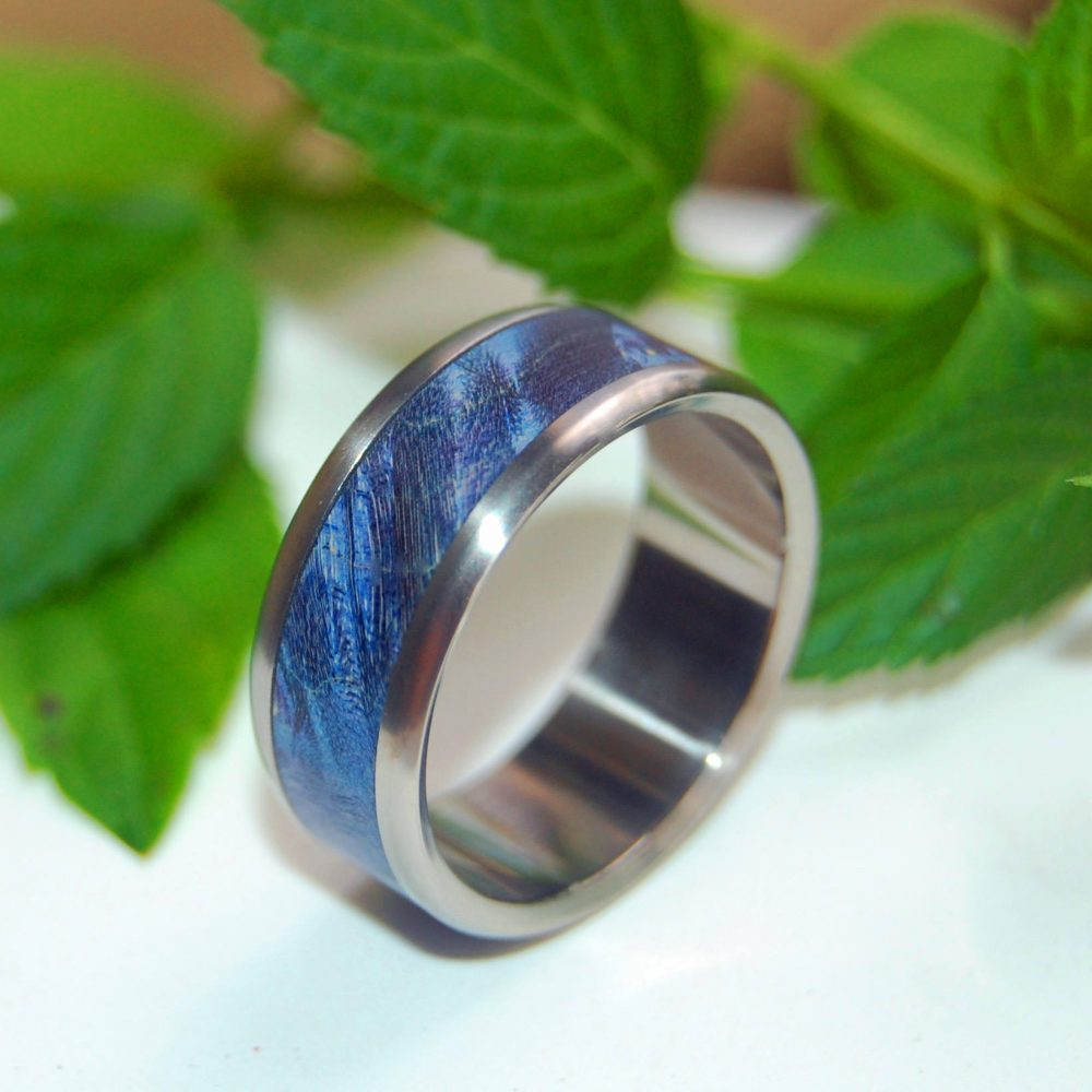 Wedding Rings, Titanium Wood Mens Titanium Wedding Bands, Eco-Friendly Rings, - Linger in The Hills Beside Her