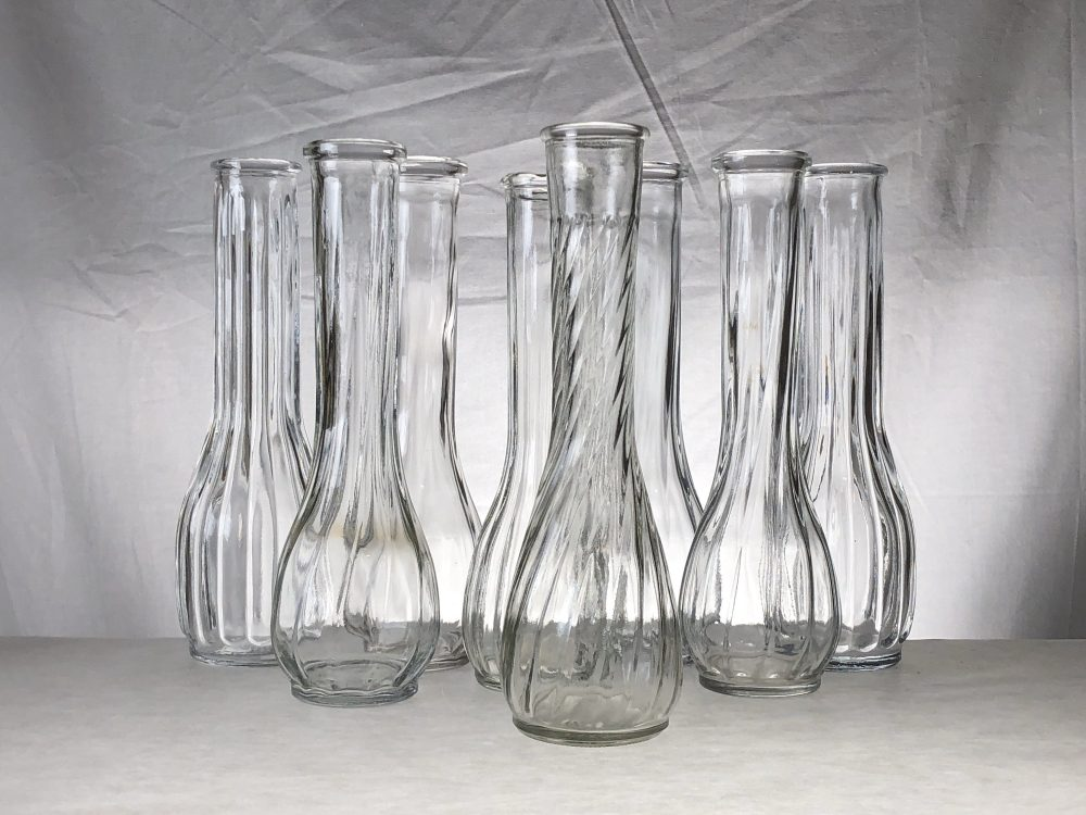 Wedding | Bud Vase Lot Clear Glass Ribbed Eight Pieces