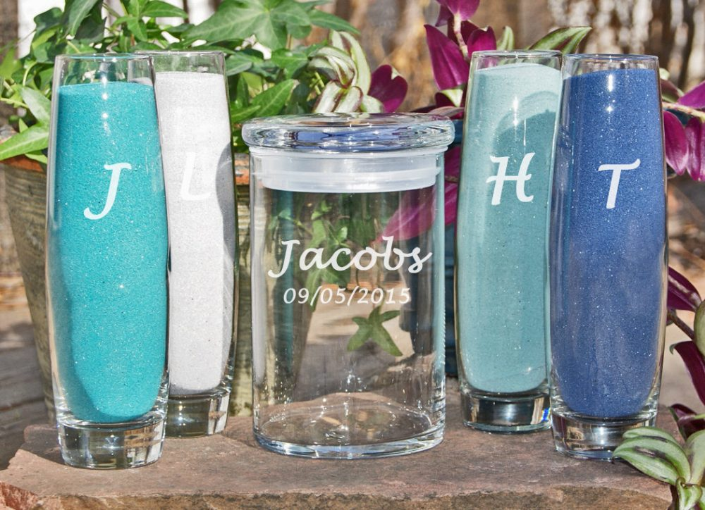 Custom Beach Wedding/Unity Sand Set Personalized Ceremony Candle Destination Large Family