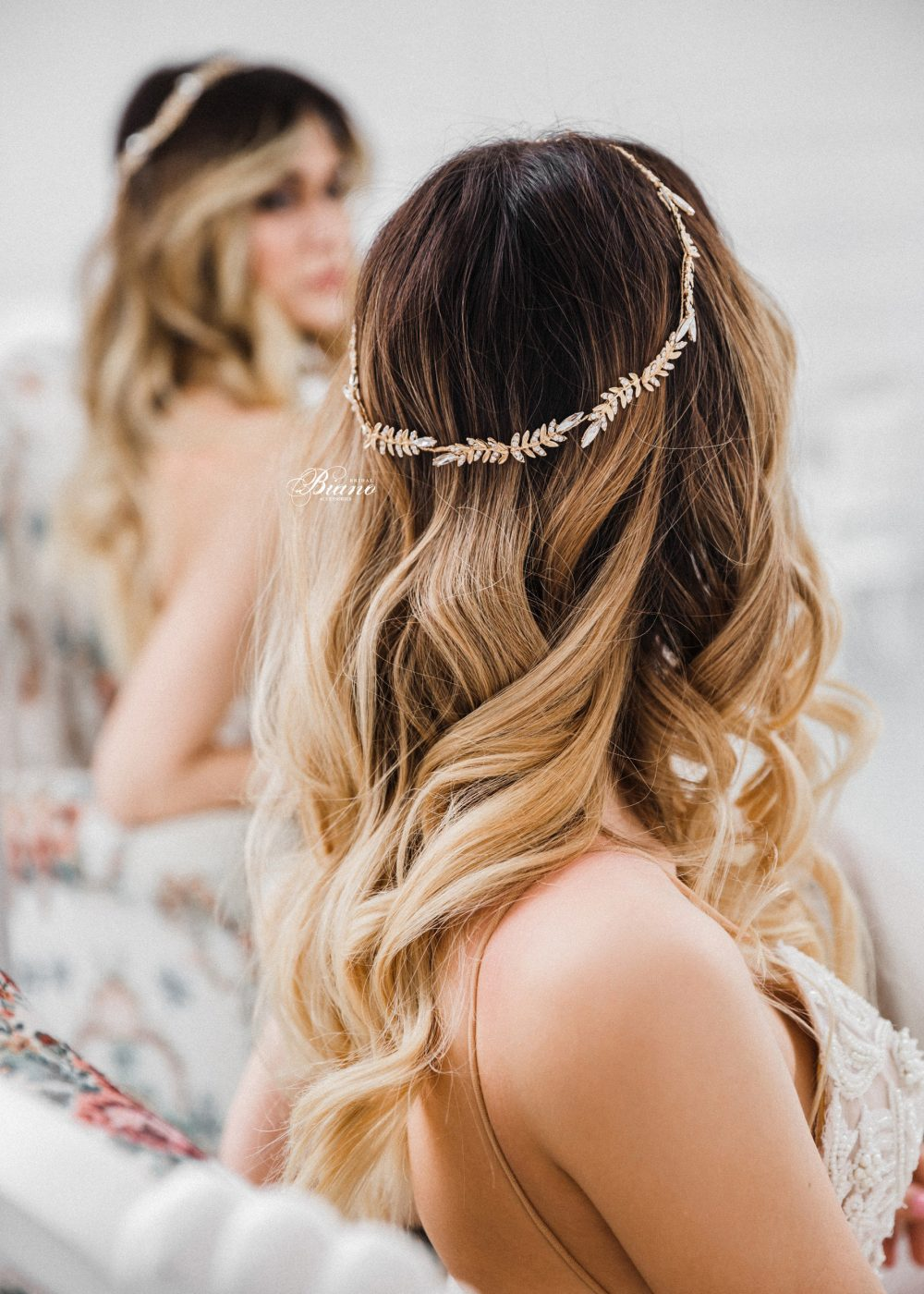 Bridal Headband Boho. Halo, Hair Vine, Gold Headpiece Wedding Gold, Bohemian. Headband - Mila