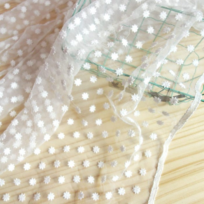 """1 Yards Lace Fabric Ivory Tulle Small Daisy Embroidery Flower Bridal Fabric Wedding Lace Headband 55"""" Width"""