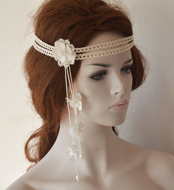 Wedding Lace Headband, Bridal Head Piece For Bride, Floral Boho Hair Vine, Vintage İnspired Accessories, Halo Forhead Band