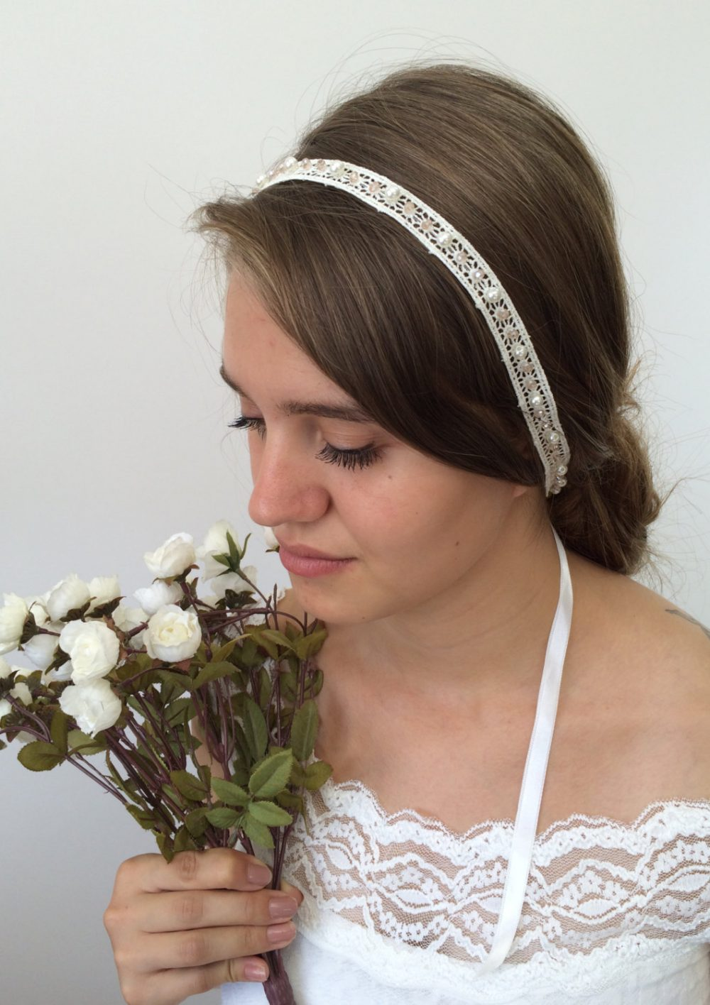 Bridal Hair Wrap, Wedding Lace Headband, Pearls & Crystals Embroidered Jewelry, Headpiece, Hairband, Women's Gift