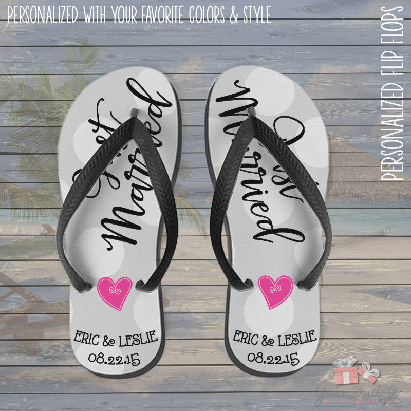 Wedding Flip Flops - Personalized Just Married