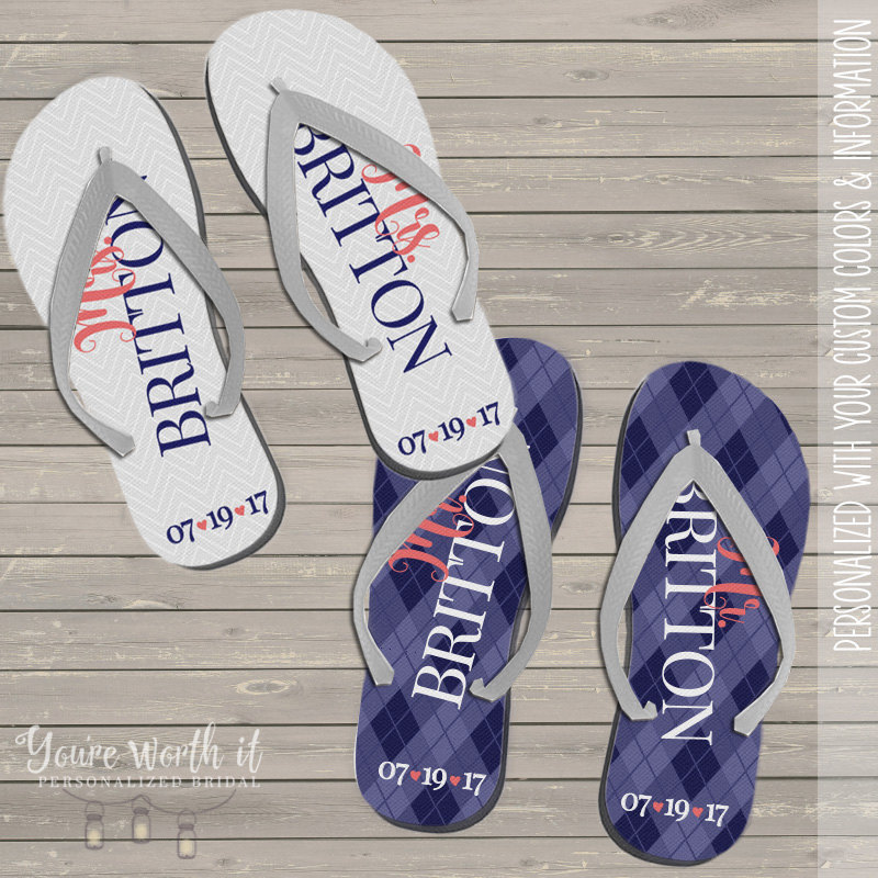 Wedding Flip Flops - Bride & Groom Personalized Last Name Date Set Of Two
