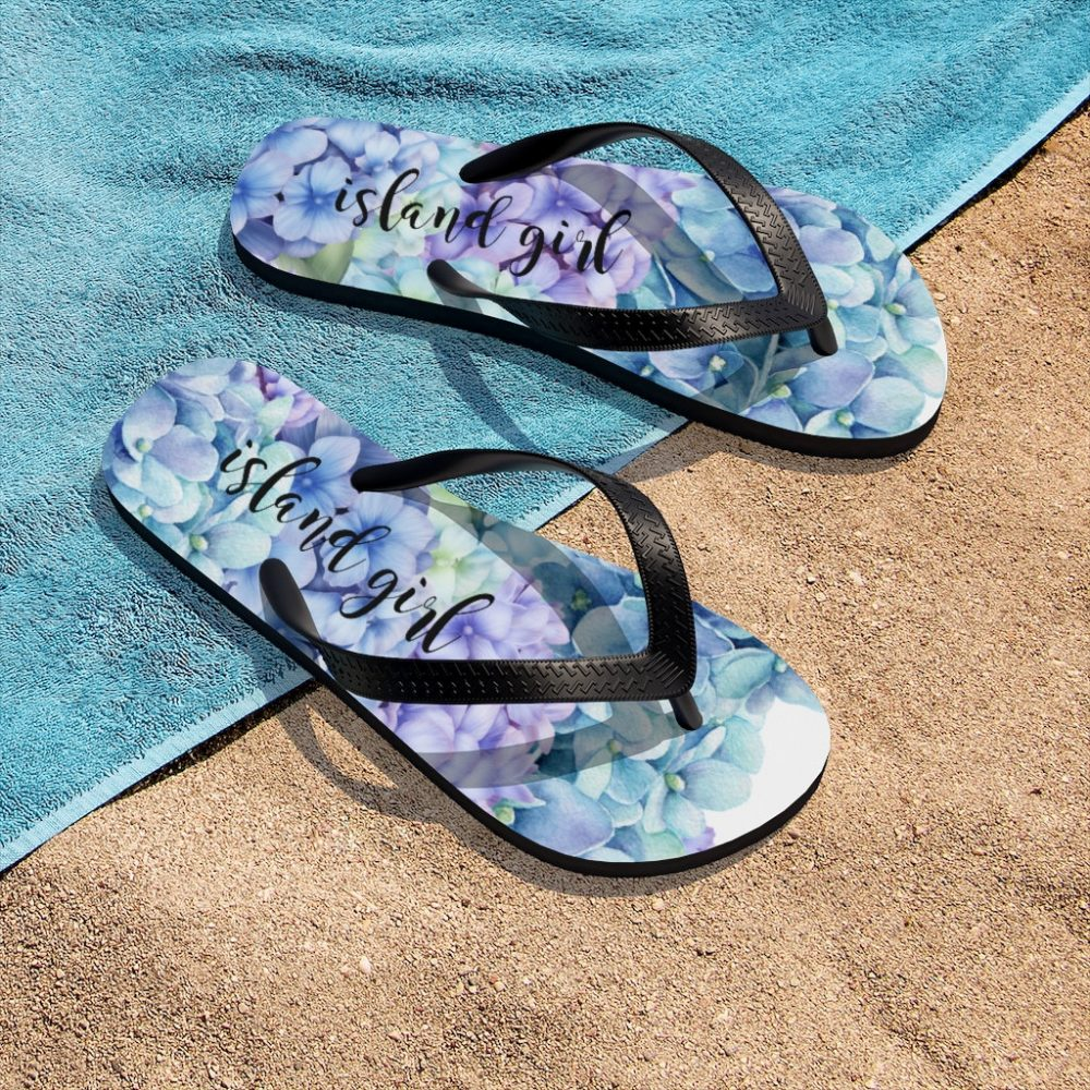 Personalized Hydrangea Flip Flops, Beach Purple Blue Floral, Gifts For Her, Summer Sandals, Bridesmaid Gift, Wedding Flip Flops